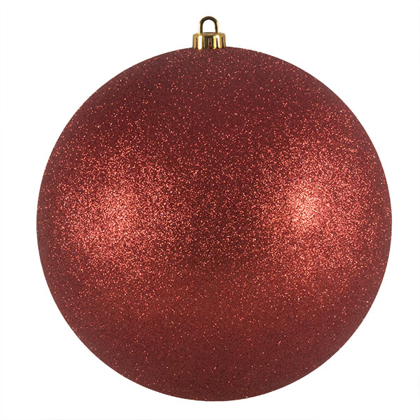 Xmas Baubles - Single 250mm Red Glitter Shatterproof