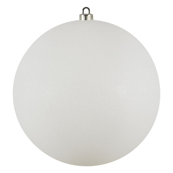 Xmas Baubles - Single 250mm White Glitter Shatterproof