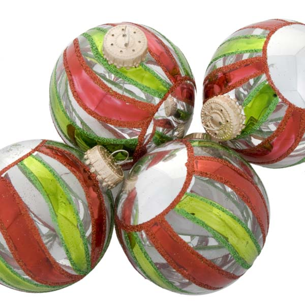 Krebs Box Of Clear Glass Baubles With Red & Green Stripe Decoration - 4 x 60mm