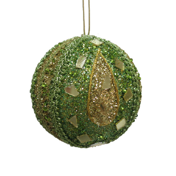 Olive Green & Gold Mirror Beaded Bauble - 100mm