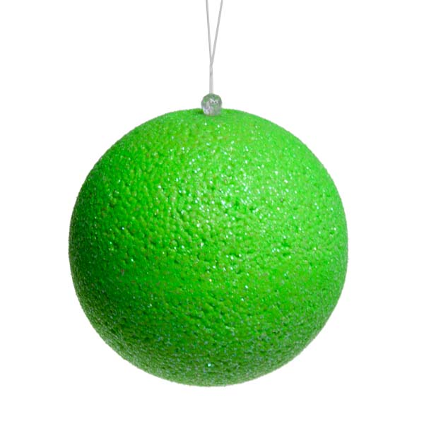 Neon Green Beaded Bauble - 100mm
