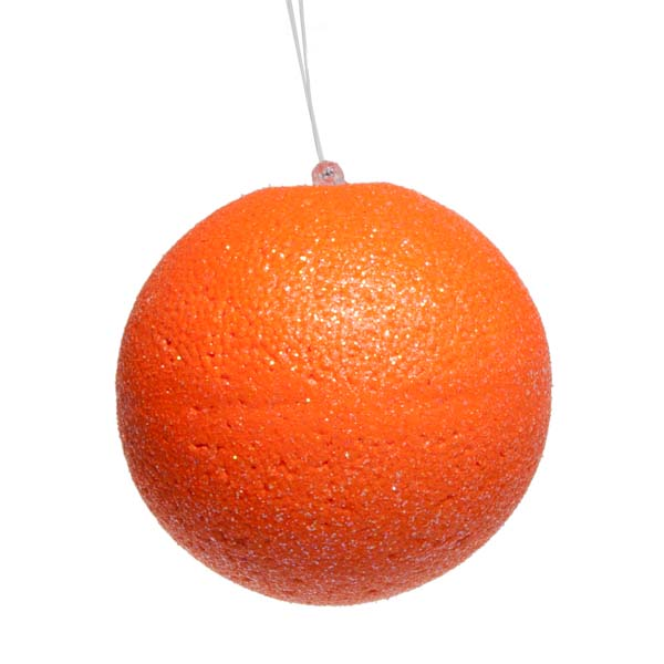Neon Orange Beaded Bauble - 100mm