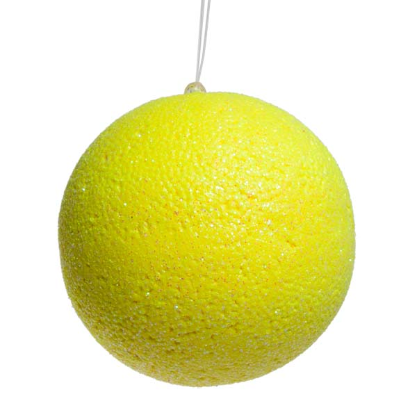 Neon Yellow Beaded Bauble - 100mm