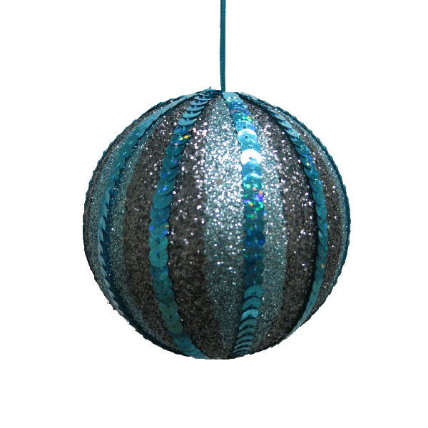 Dark Blue & Turquoise Striped Sequin Bauble - 100mm