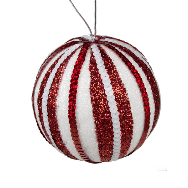 Red & White Striped Sequin Bauble - 100mm