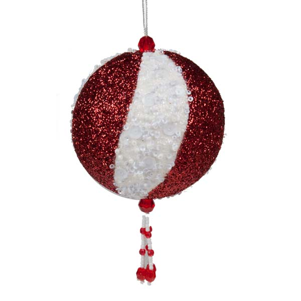 Red & White Beaded Ball With Tassel - 15cm