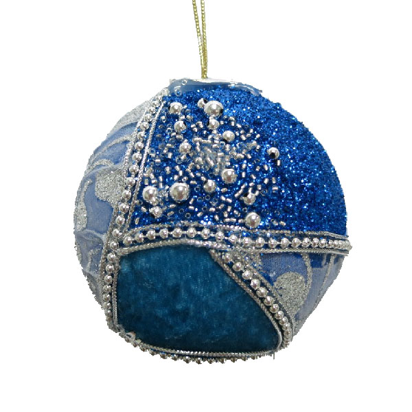 Turquoise & Silver Fabric & Beaded Bauble - 100mm