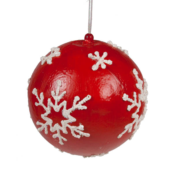 Red Bauble With White Painted Snowflakes - 100mm