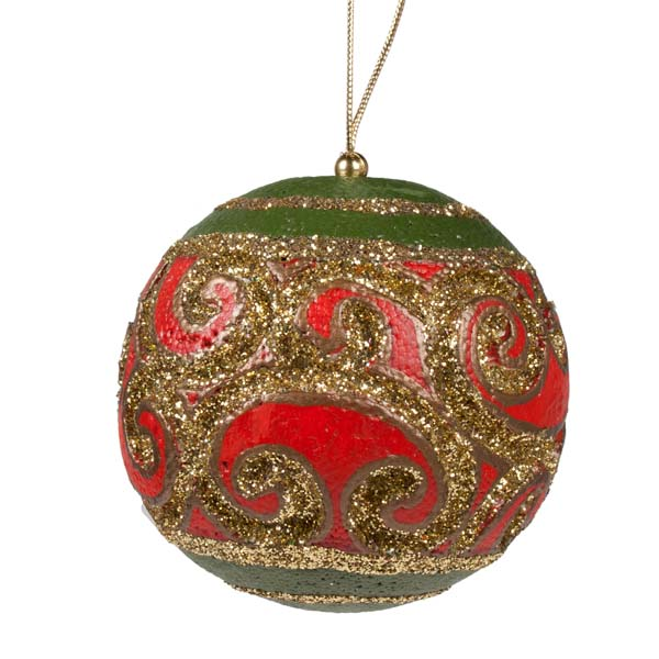 Red, Gold & Green Swirl Bauble - 100mm