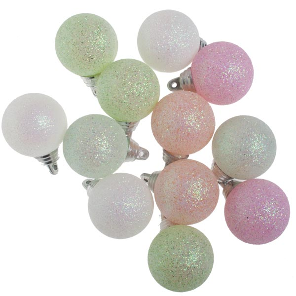 Gisela Graham Tube Of Pastel Glitter Balls - 12 x 35mm