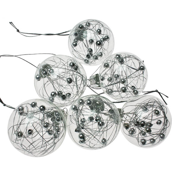 Clear Glass Wire & Ball Baubles - 6 X 4.5cm
