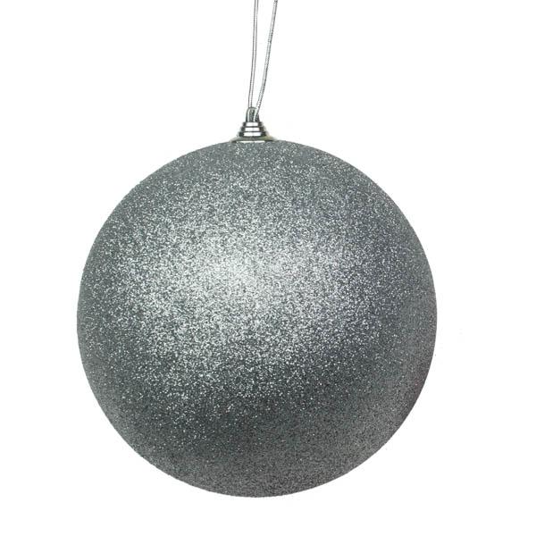 Silver Shatterproof Glitter Bauble - 180mm