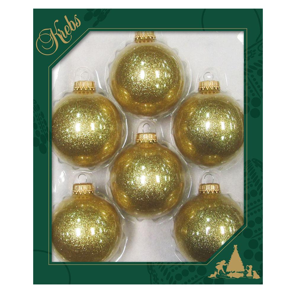 Krebs Glass Gold Sparkle Baubles - 6 x 67mm