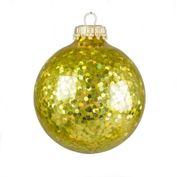 Krebs Glass Gold Spangle Baubles - 6 x 67mm