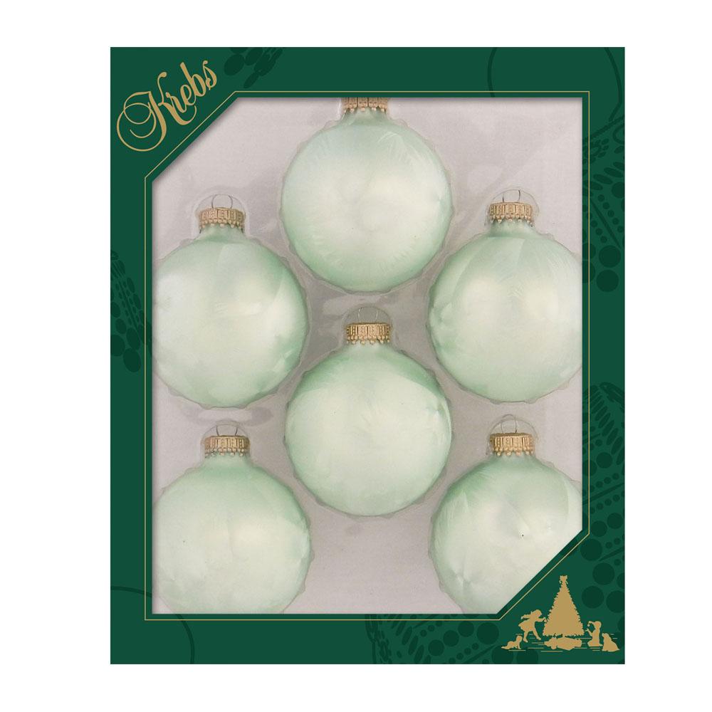 Krebs Glass Mint Icelock Baubles - 6 x 67mm