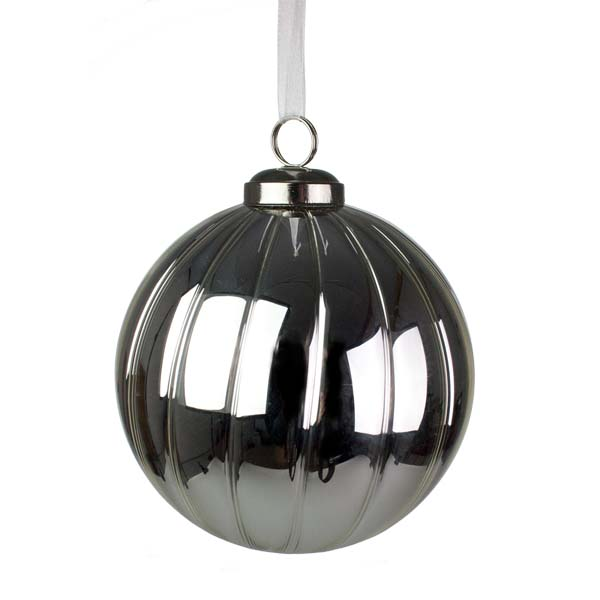 Luxury Ribbed Silver Glass Shiny Bauble - 10cm