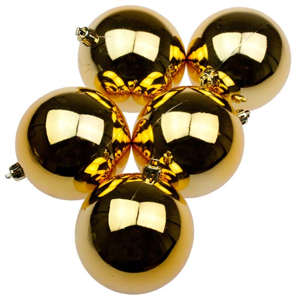 Gold UV Protected Shatterproof Baubles - Pack of 6 x 80mm