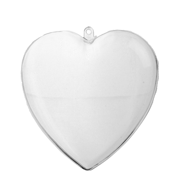 Clear Splittable Heart Shaped Bauble - 140mm