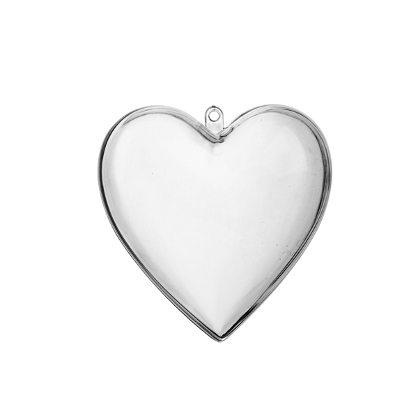 Clear Splittable Heart Shaped Bauble - 60mm