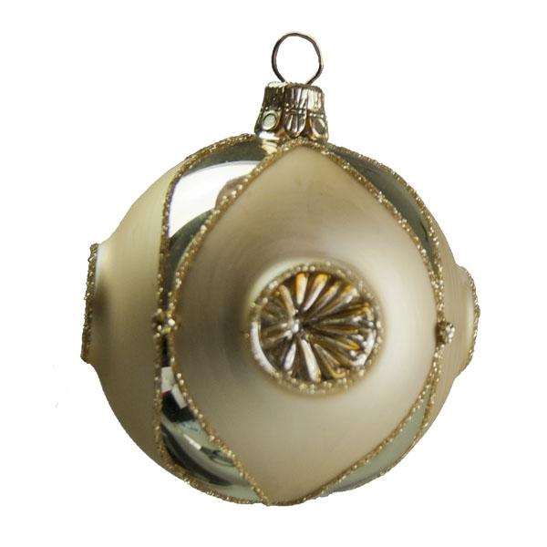 Handblown Clear & Gold Glass Reflector Ball - 6cm