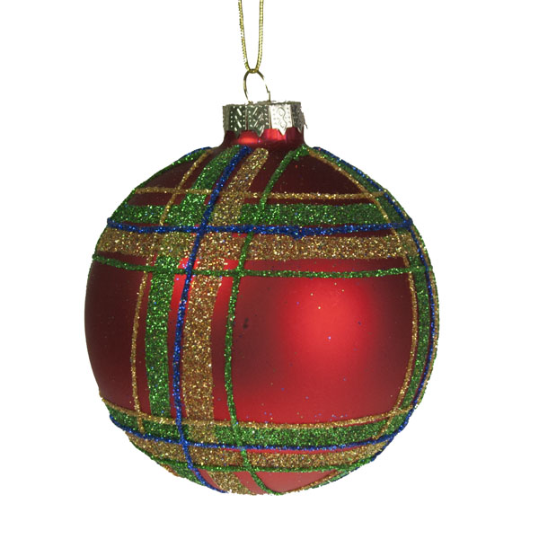 Gisela Graham Red Tartan Glass Bauble 80mm Christmas