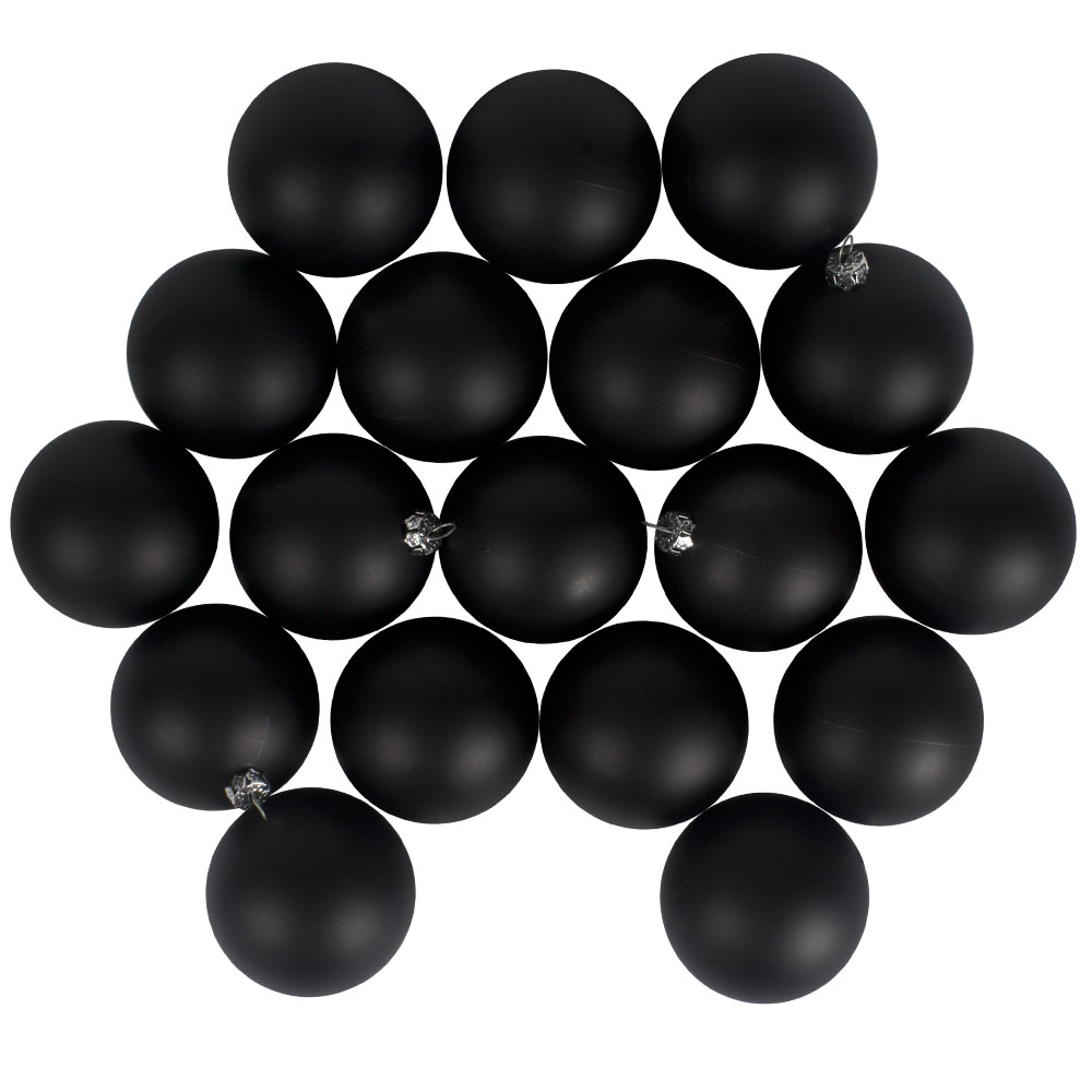 Luxury Black Satin Finish Shatterproof Baubles - Pack of 18 x 60mm