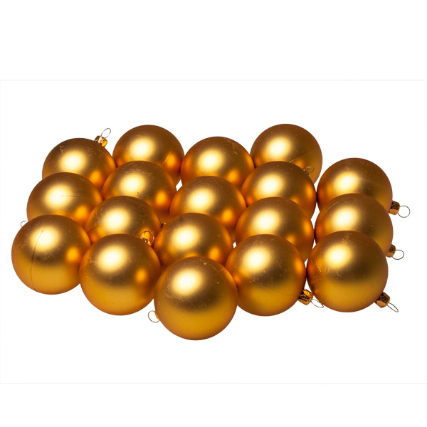 Luxury Gold Satin Finish Shatterproof Baubles - Pack of 18 x 60mm