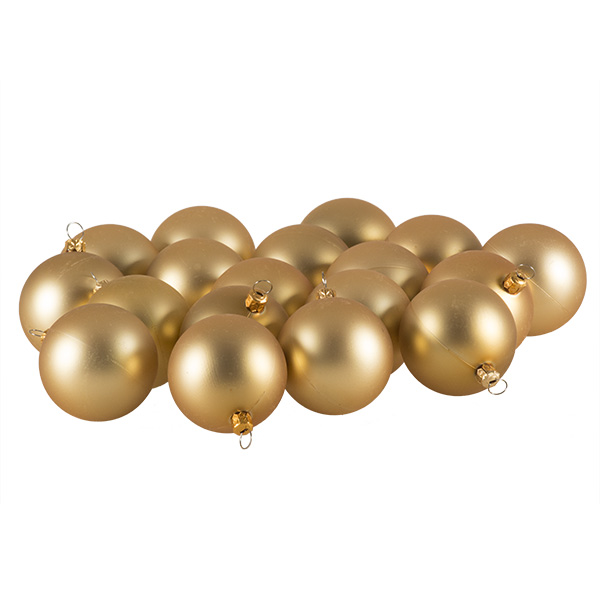 Luxury Pale Gold Satin Finish Shatterproof Baubles - Pack of 18 x 60mm