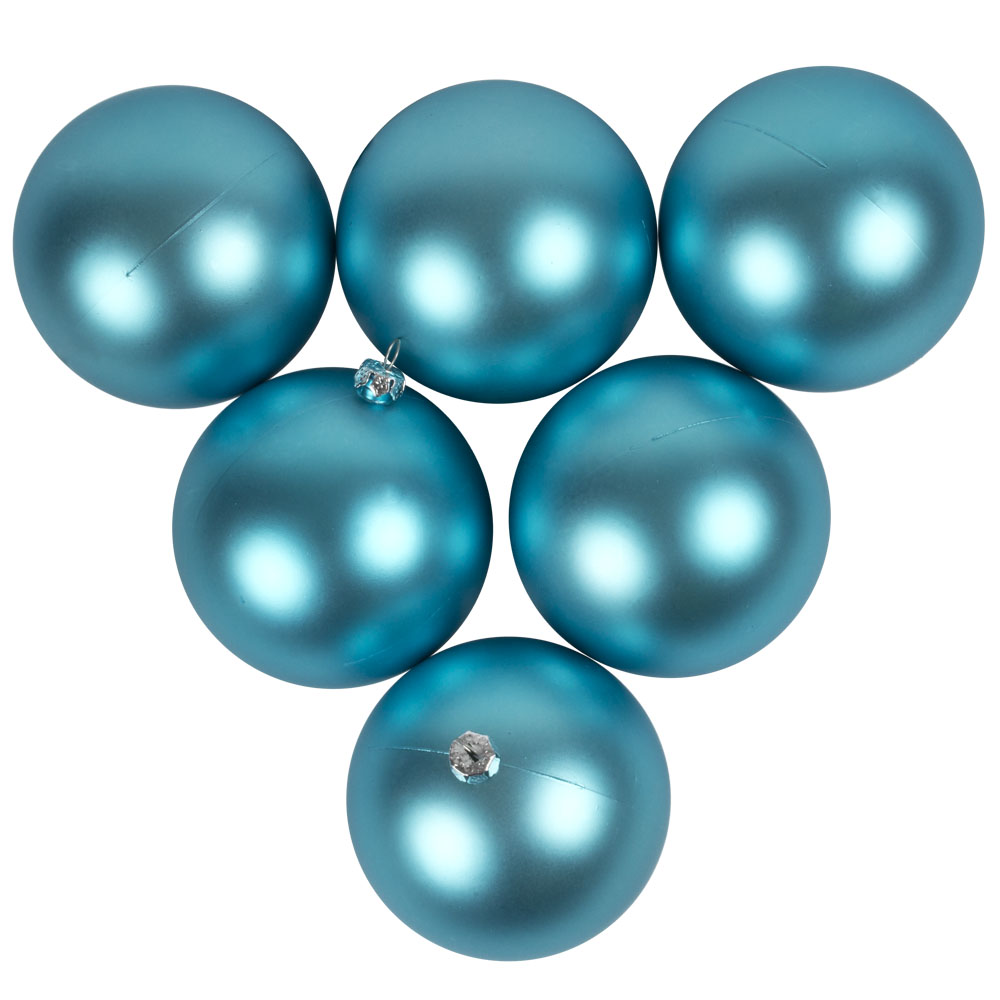Luxury Aqua Turquoise Satin Finish Shatterproof Baubles - Pack of 6 x 80mm