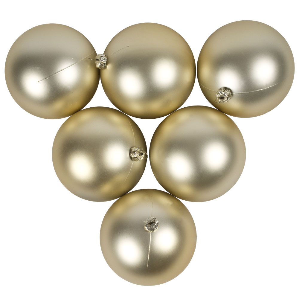 Luxury Champagne Gold Satin Finish Shatterproof Baubles - Pack of 6 x 80mm