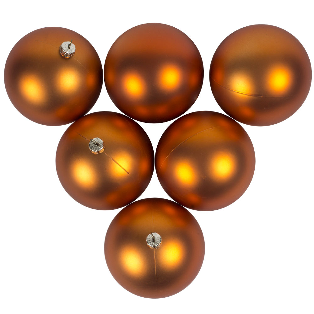 Luxury Copper Orange Satin Finish Shatterproof Baubles - Pack of 6 x 80mm