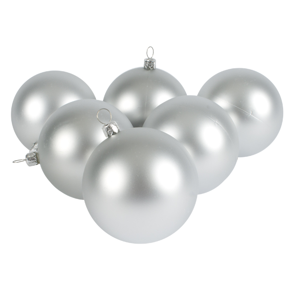 Luxury Silver Satin Finish Shatterproof Baubles - Pack of 6 x 80mm