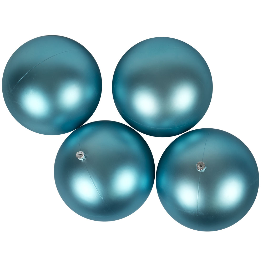 Luxury Aqua Turquoise Satin Finish Shatterproof Baubles - Pack 4 x 140mm