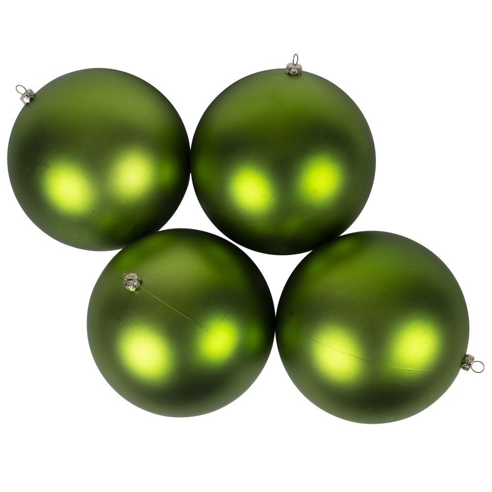 Luxury Lime Green Satin Finish Shatterproof Baubles - Pack 4 x 140mm