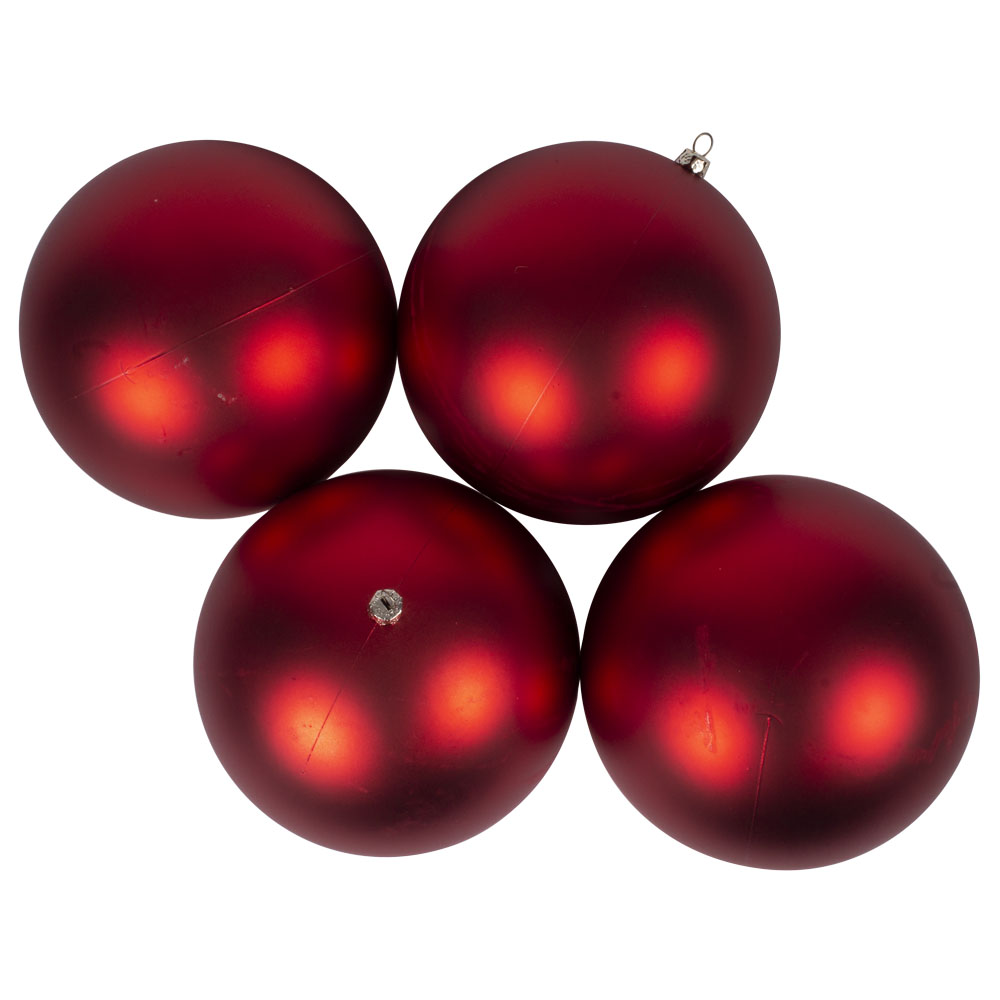Luxury Red Satin Finish Shatterproof Baubles - Pack 4 x 140mm