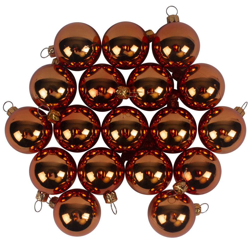 Luxury Copper Orange Shiny Finish Shatterproof Bauble Range - Pack of 18 x 40mm