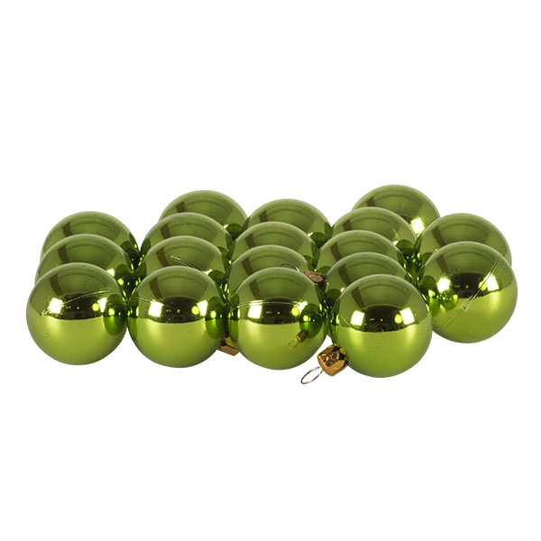 Luxury Lime Green Shiny Finish Shatterproof Bauble Range - Pack of 18 x 40mm