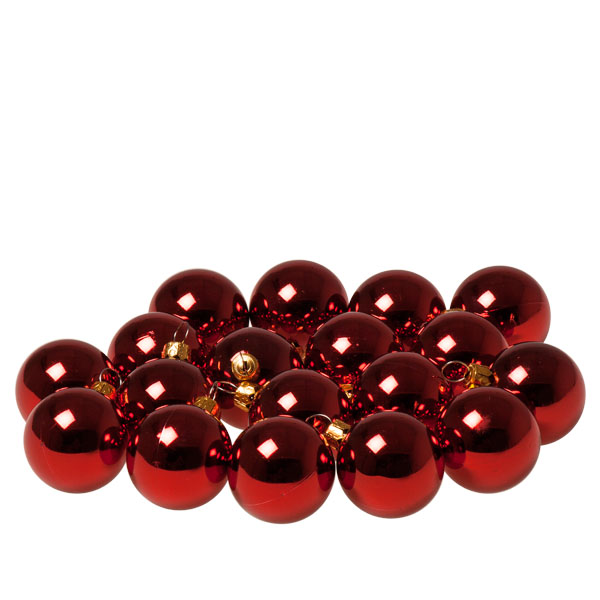 Luxury Red Shiny Finish Shatterproof Bauble Range - Pack of 18 x 40mm
