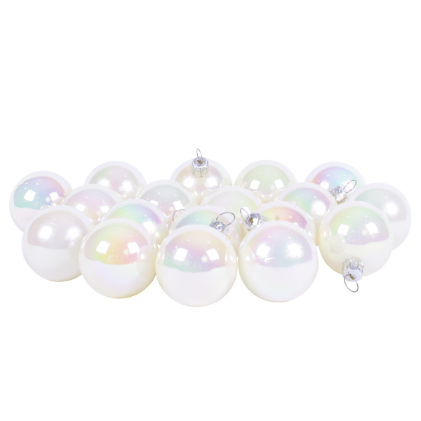 Luxury White Iridescent Shiny Finish Shatterproof Bauble Range - Pack of 18 x 40mm