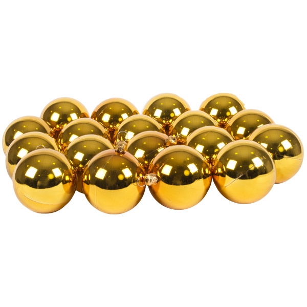 Luxury Gold Shiny Finish Shatterproof Bauble Range - Pack of 18 x 60mm