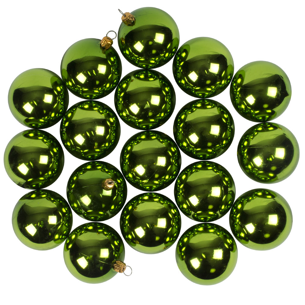 Luxury Lime Green Shiny Finish Shatterproof Bauble Range - Pack of 18 x 60mm