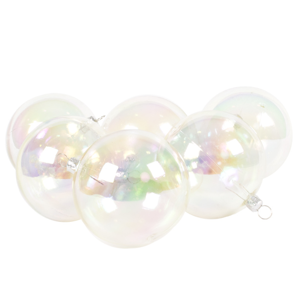 Luxury Clear Iridescent Shiny Finish Shatterproof Bauble Range - Pack of 6 x 80mm