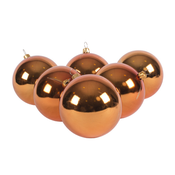 Luxury Copper Orange Shiny Finish Shatterproof Bauble Range - Pack of 6 x 80mm