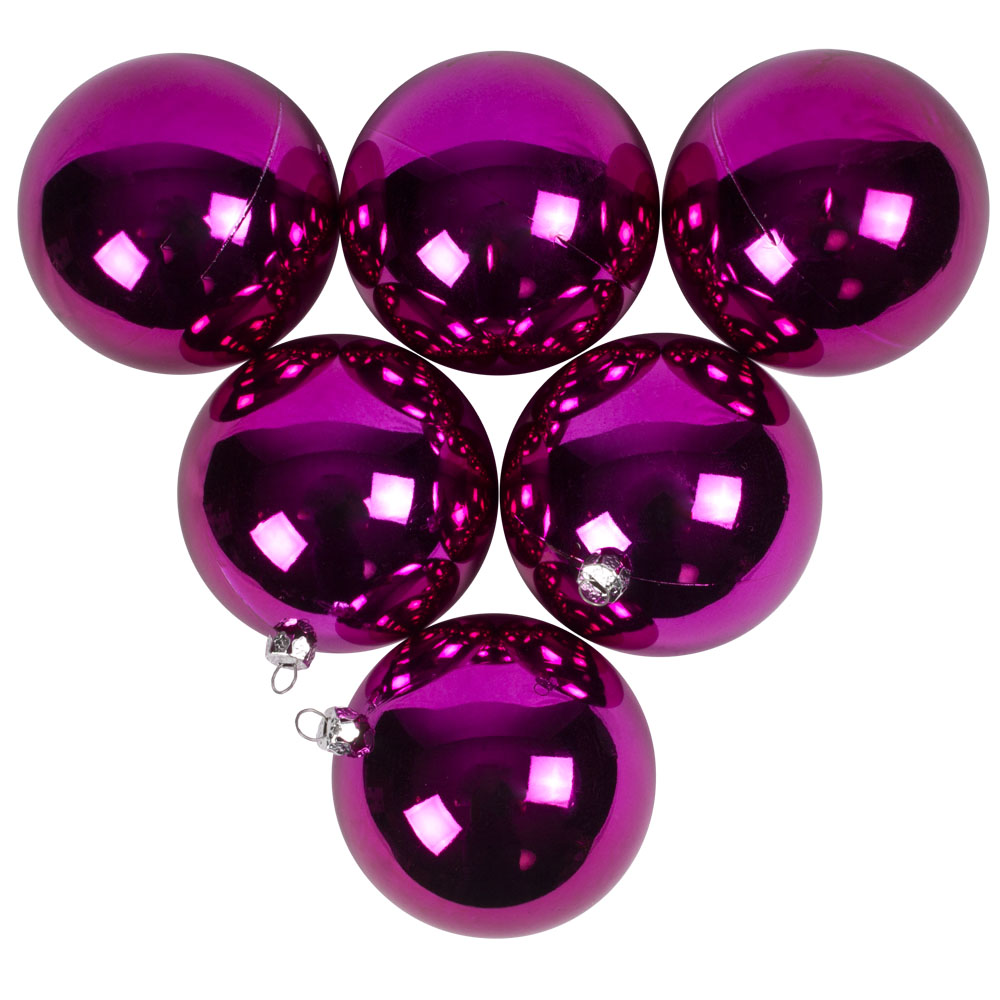 Luxury Cerise Pink Shiny Finish Shatterproof Bauble Range - Pack of 6 x 80mm