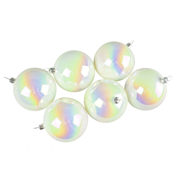 Luxury White Iridescent Shiny Finish Shatterproof Bauble Range - Pack of 6 x 80mm