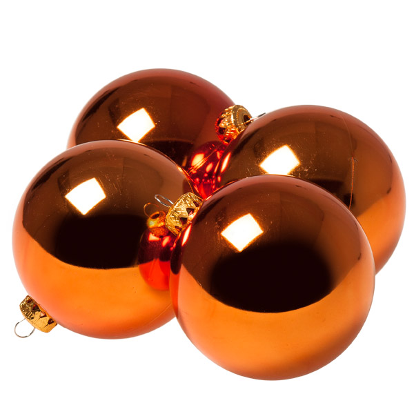 Luxury Copper Orange Shiny Finish Shatterproof Bauble Range - Pack of 4 x 100mm