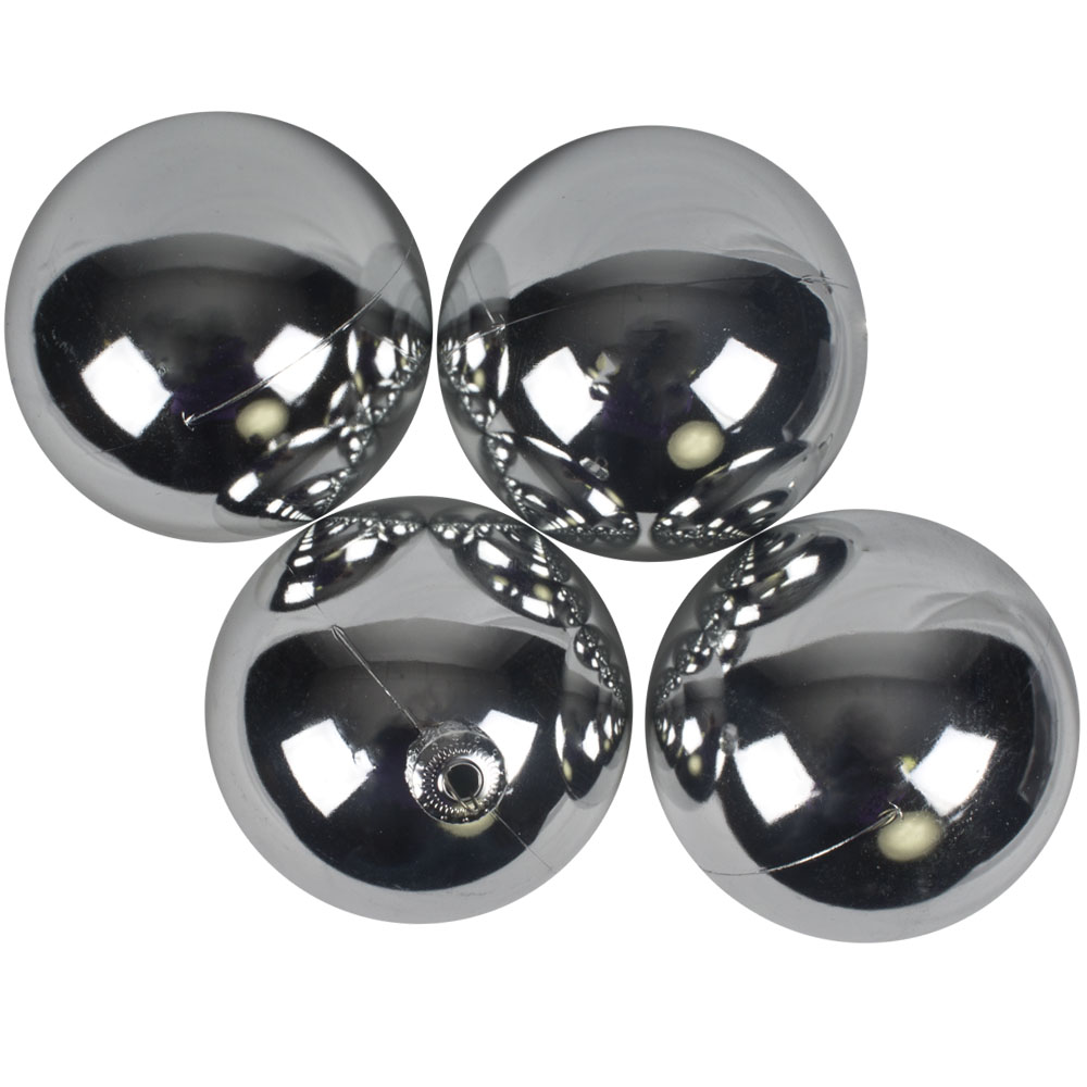 Luxury Silver Shiny Finish Shatterproof Bauble Range - Pack of 4 x 100mm