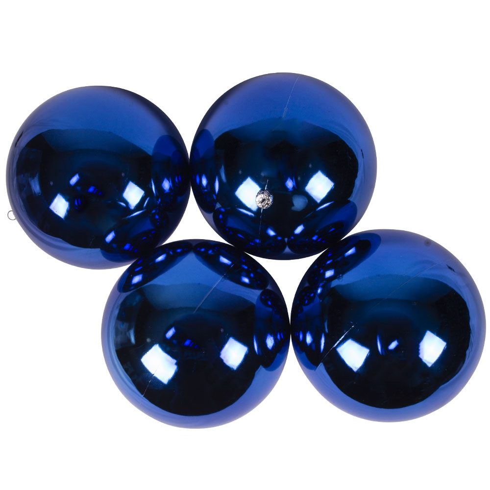 Luxury Electric Blue Shiny Finish Shatterproof Bauble Range - Pack of 4 x 140mm