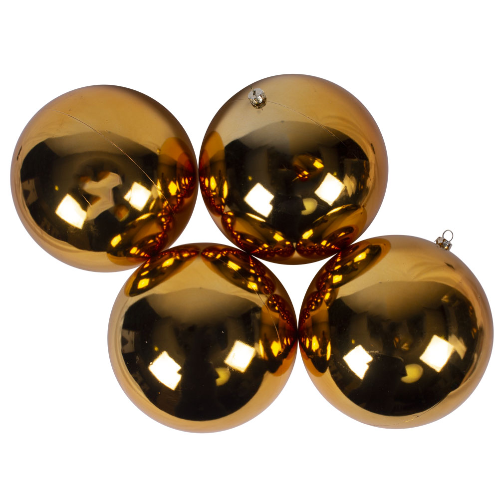 Luxury Gold Shiny Finish Shatterproof Bauble Range - Pack of 4 x 140mm