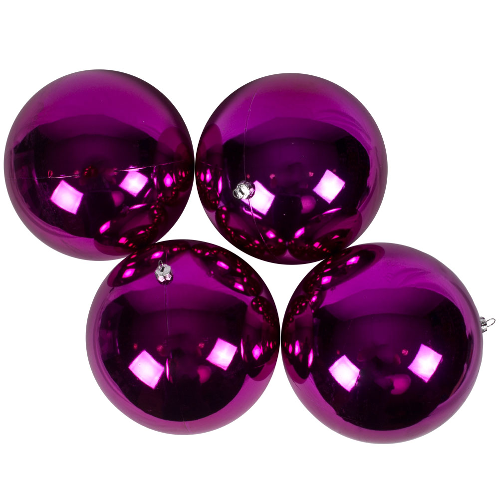 Luxury Cerise Pink Shiny Finish Shatterproof Bauble Range - Pack of 4 x 140mm